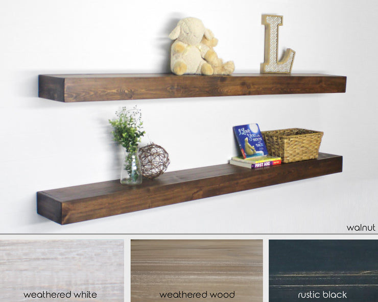 extra long, extra deep floating shelf, available in four color selections.