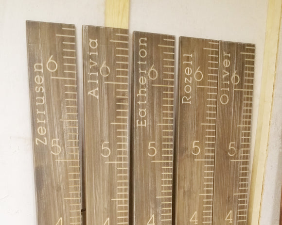 Custom Name Weathered Wood Height Chart, name at top