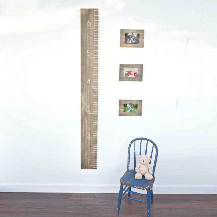Check out our coordinating decor- weathered wood growth chart, weathered wood picture frame clipboards, 4x6 picture frame