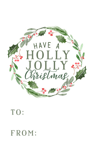 Holly Jolly Christmas Gift Tag
