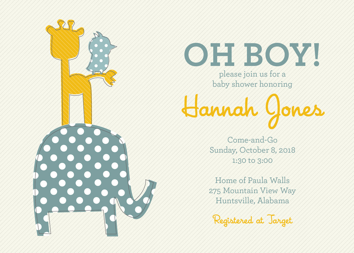 Baby Animals Shower Invitation