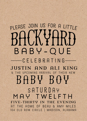 Backyard Babyque Shower Invitation