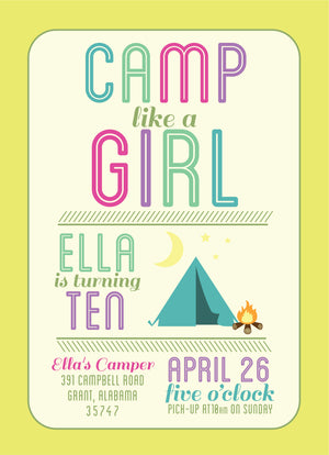Camp Like A Girl Birthday Invitation