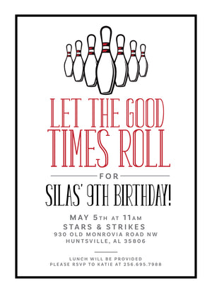 Let The Good Times Roll Birthday Invitation