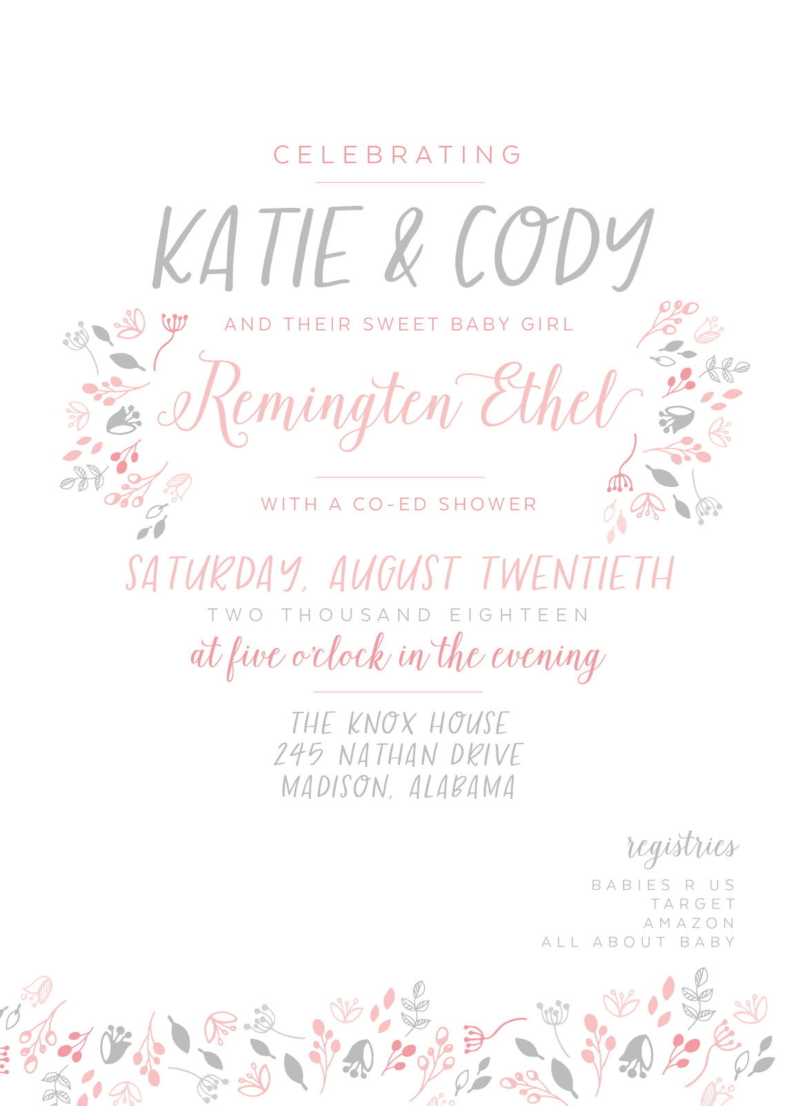 Little Leaves Shower Invitation