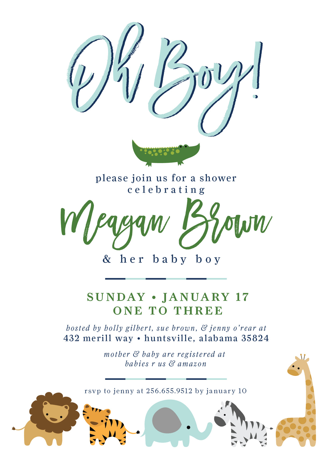 Little Zoo Shower Invitation