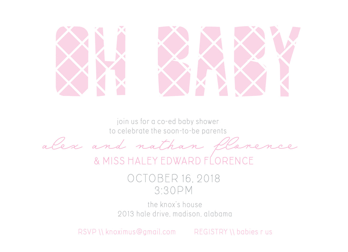 Oh Baby Shower Invitation