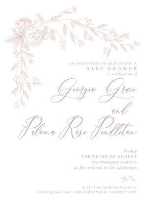 Little Rose Shower Invitation