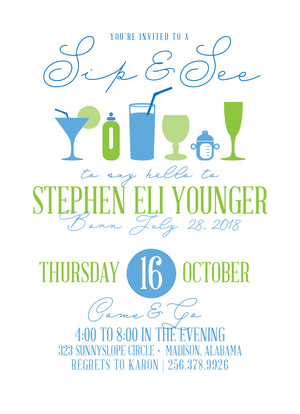 Sip and See Shower Invitation
