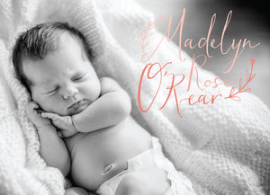 Welcome Little Girl Baby Announcement