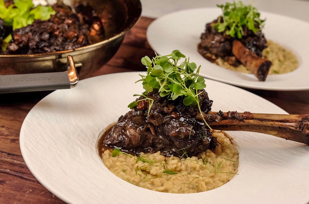 Braised Lamb Shank with Pearl Barley Risotto