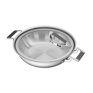 "CookCraft by Candace 12"" Dual Handle Casserole with Glass Lid"