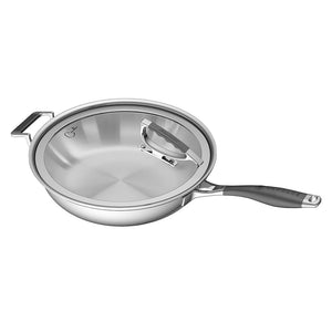 "Load image into Gallery viewer, CookCraft by Candace 13"" French Skillet with Glass Latch Lid"