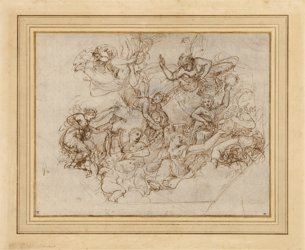 Giulio Romano :An Allegory of the Virtues of Federico II Gon,16x12