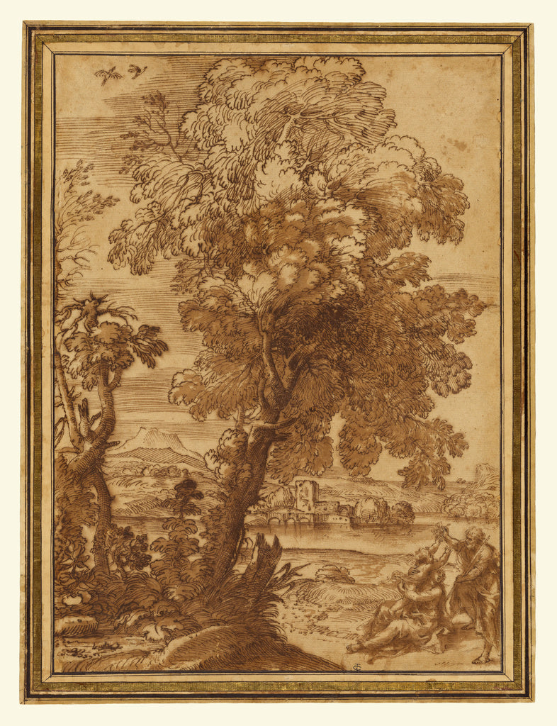 Alessandro Algardi:Landscape with the Holy Family (Rest on t,16x12