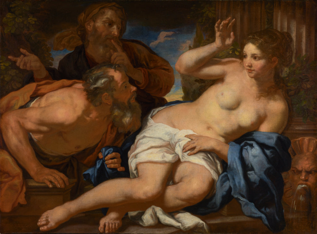 Johann Carl Loth:Susannah and the Elders,16x12