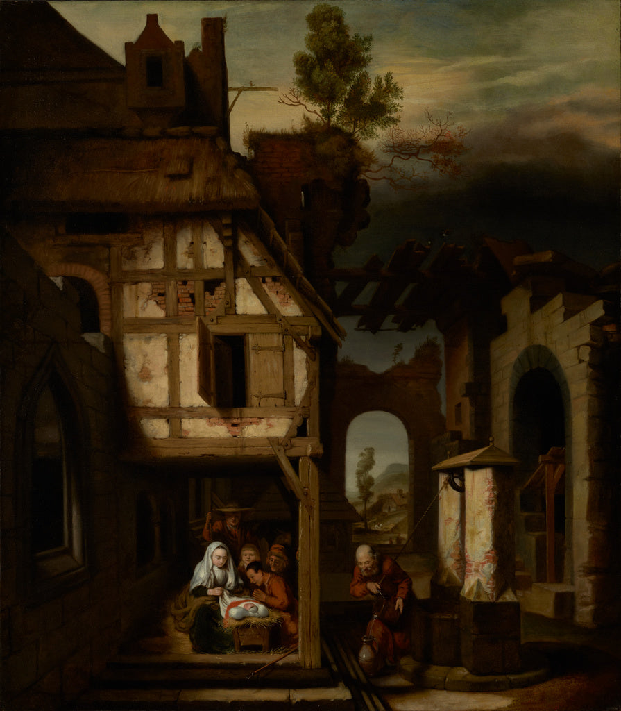 Nicolaes Maes:Adoration of the Shepherds,16x12