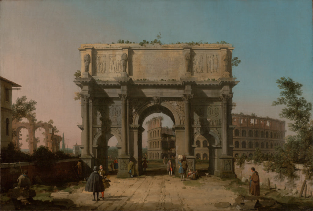 Canaletto :View of the Arch of Constantine with the Colosseu,16x12