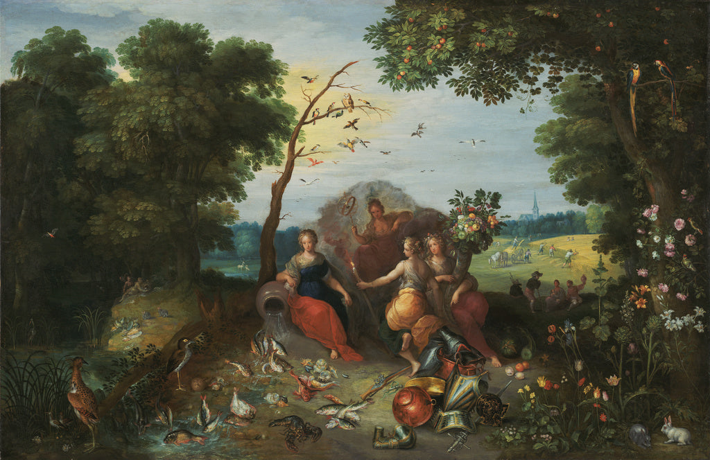 Jan Brueghel the Younger:Landscape with Allegories of the Fo,16x12