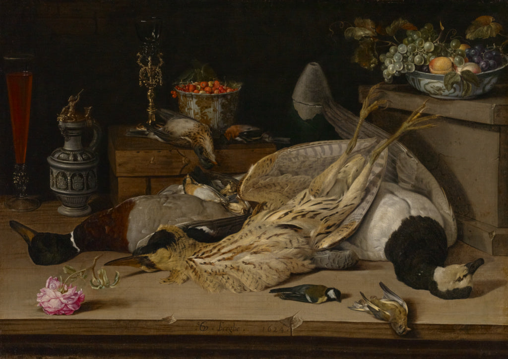 Christoffel van den Berghe:Still Life with Dead Birds,16x12