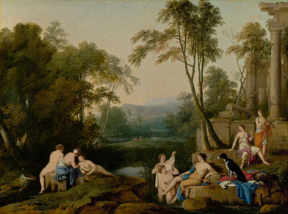 "Laurent de La Hyre:Diana and Her Nymphs in a Landscape,16x12""(A3)Poster"