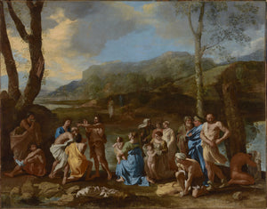 "Nicolas Poussin:Saint John Baptizing in the River Jordan,16x12""(A3)Poster"