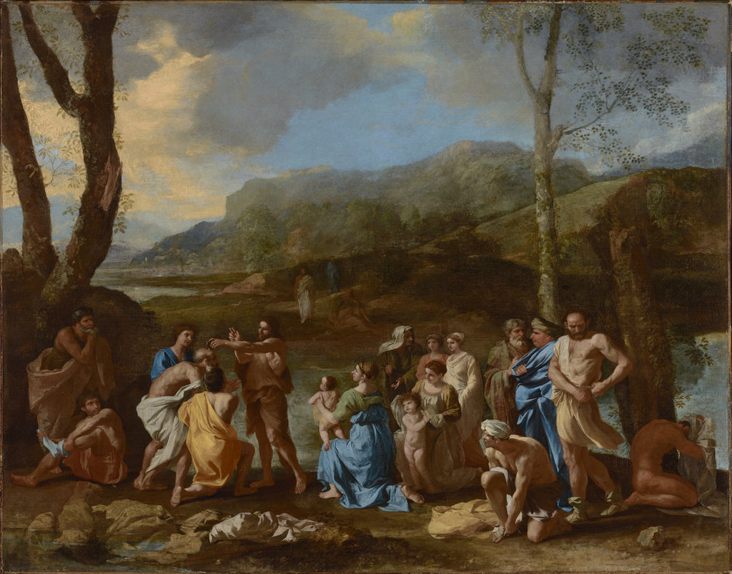 Nicolas Poussin:Saint John Baptizing in the River Jordan,16x12
