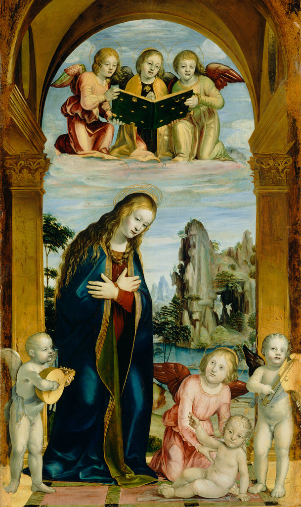 Bernardino Zenale:Madonna Adoring the Child with Musical Ang,16x12