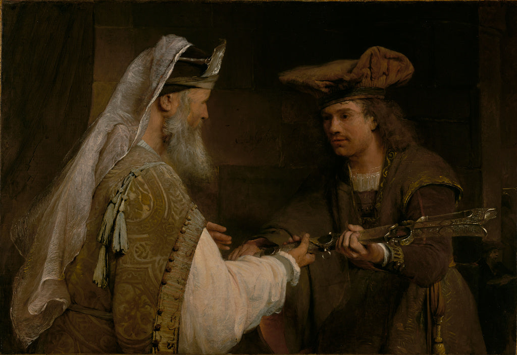 Aert de Gelder:Ahimelech Giving the Sword of Goliath to Davi,16x12