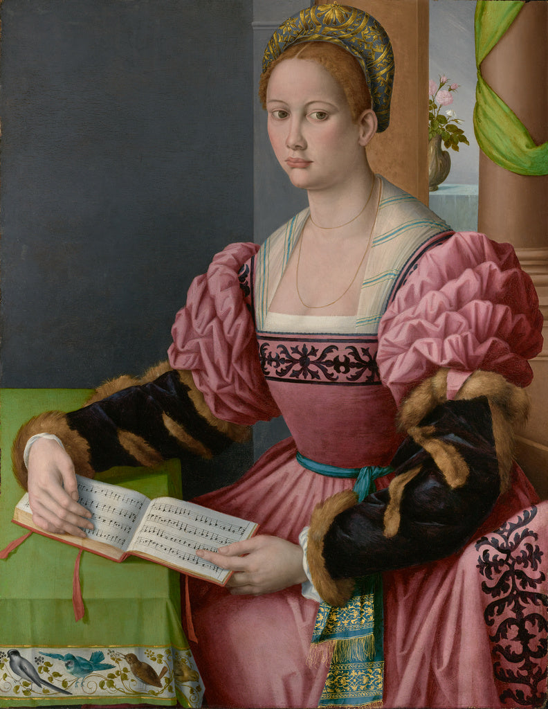 Bacchiacca  , 1494 - 1557):Portrait of a Woman with a Book o,16x12