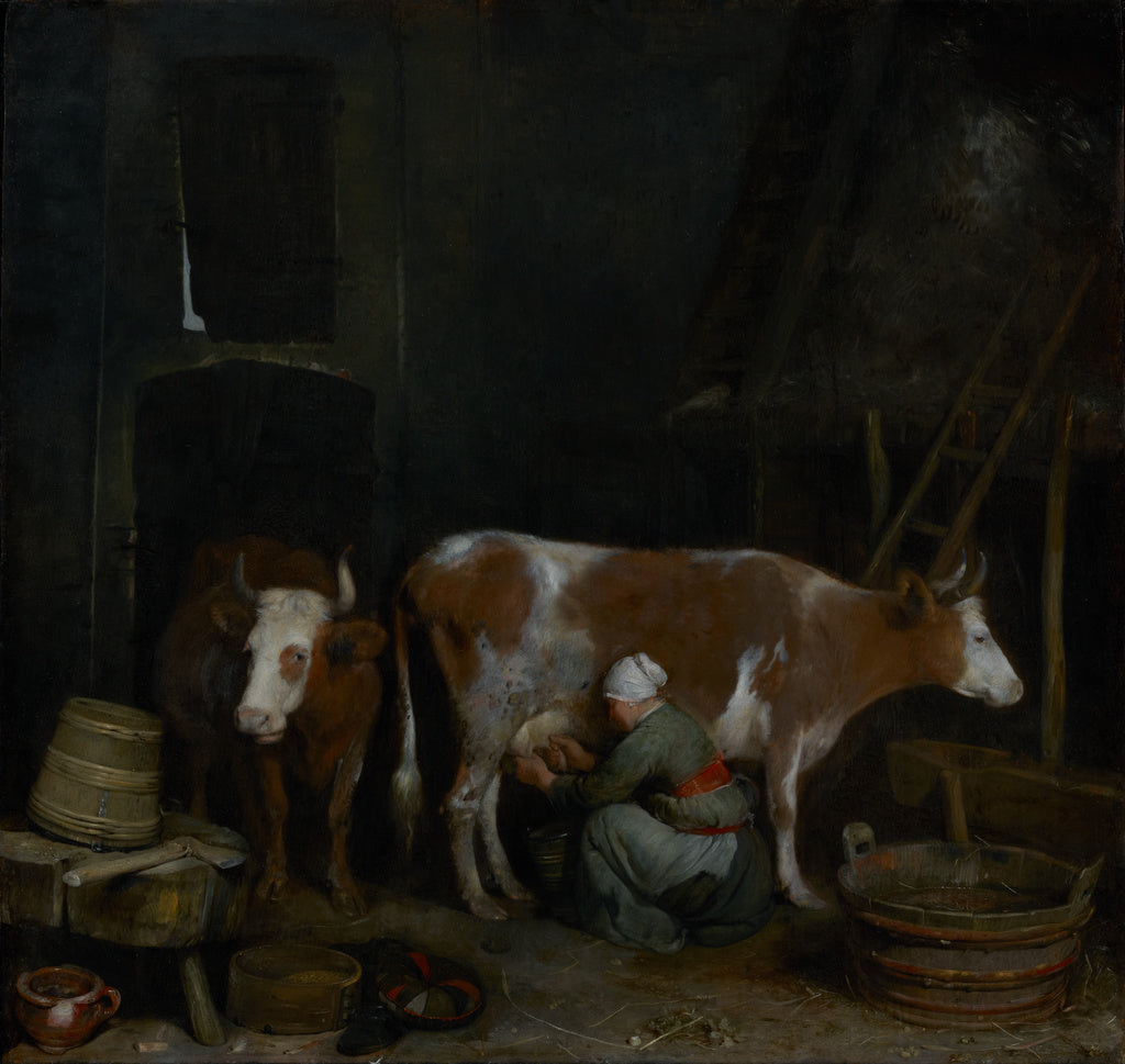 Gerard ter Borch:A Maid Milking a Cow in a Barn,16x12
