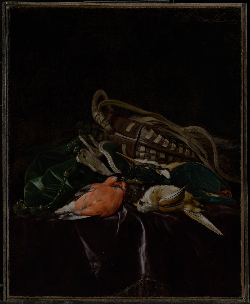 Willem van Aelst:Still Life with Dead Birds and Game Bag,16x12