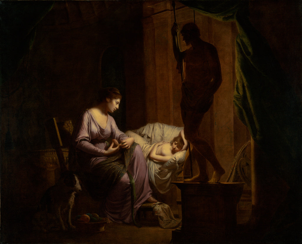 Joseph Wright of Derby:Penelope Unraveling Her Web,16x12