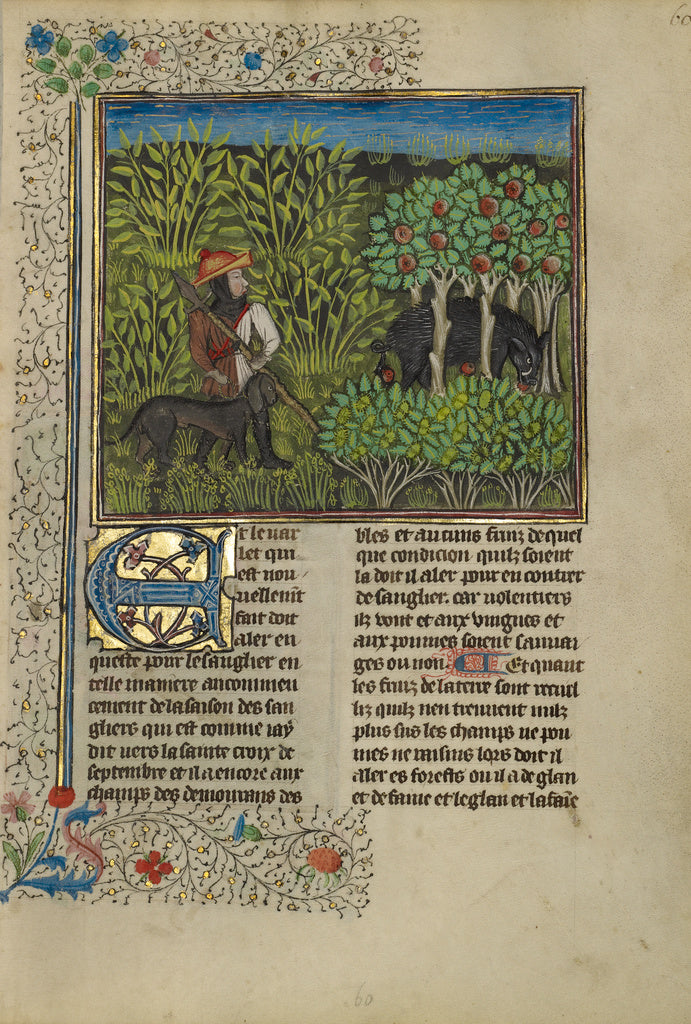 Unknown:A Hunter and a Dog Tracking a Wild Boar,16x12