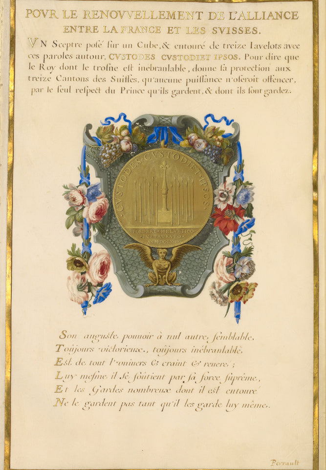 "Jacques Bailly:Emblem for Louis XIV (fol. 16),16x12""(A3)Poster"