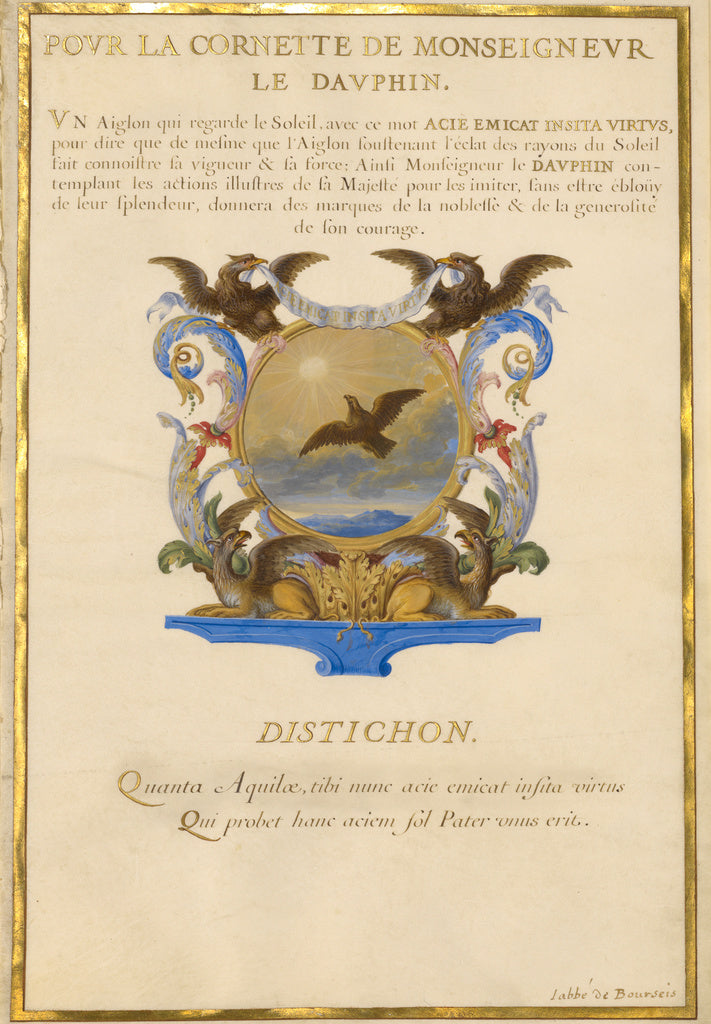 Jacques Bailly:Escutcheon with an Eagle,16x12