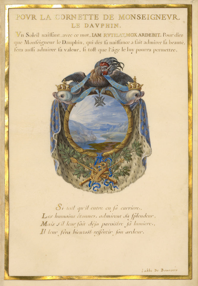 "Jacques Bailly:Emblem for Louis XIV (fol. 15),16x12""(A3)Poster"