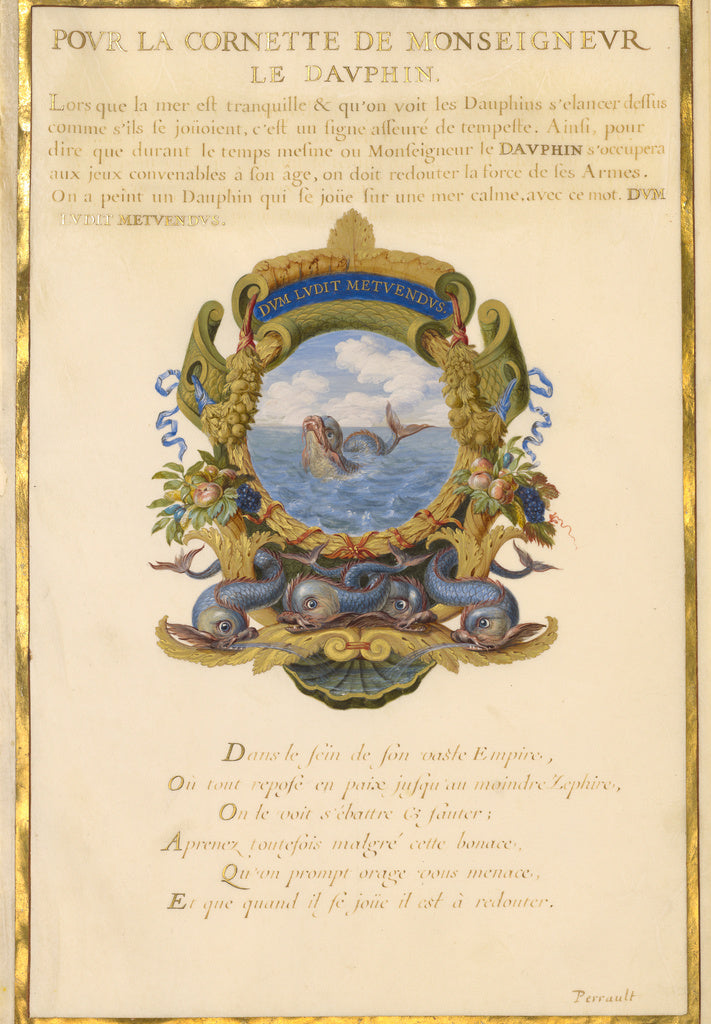 Jacques Bailly:Escutcheon with a Sea Monster,16x12