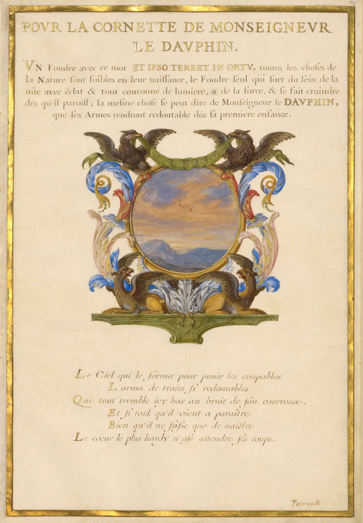 Jacques Bailly:Emblem for Louis XIV (fol. 22),16x12