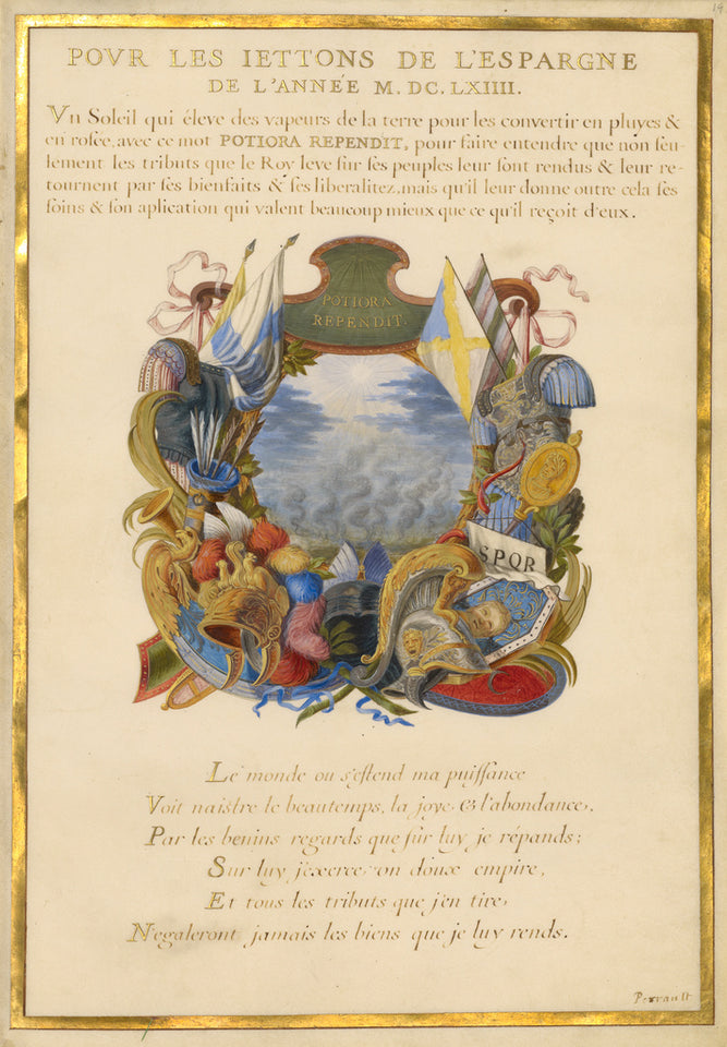 "Jacques Bailly:Emblem for Louis XIV (fol. 19),16x12""(A3)Poster"