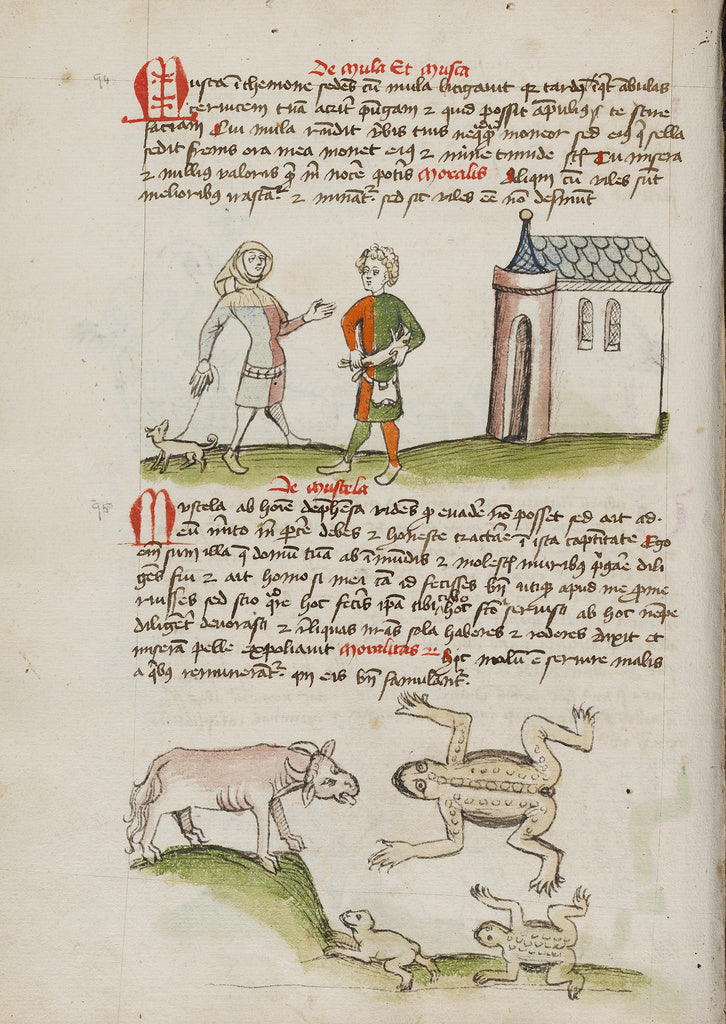 Unknown Artist:A Man with a Weasel on a Leash; An Ox, Frogs, and To,16x12
