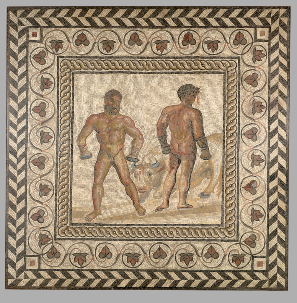 Unknown:Mosaic Floor with Combat Between Dares and Entellus,16x12