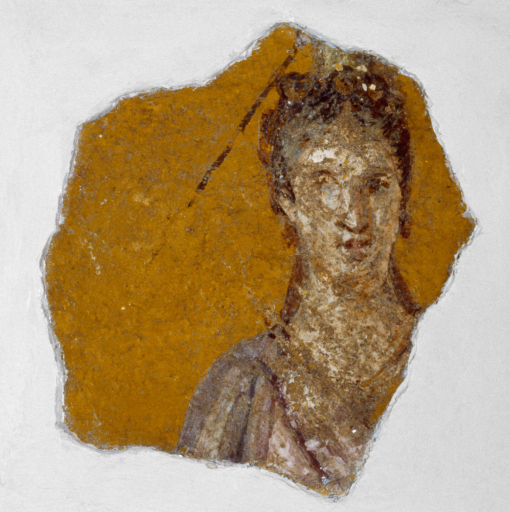 Unknown:Fragment of a Fresco with a Female Bust,16x12