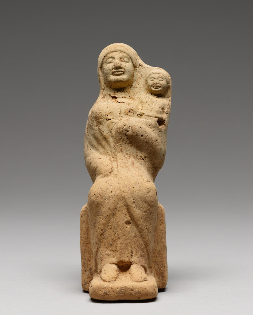 Unknown:Statuette of a Seated Female Figure with a Child,16x12
