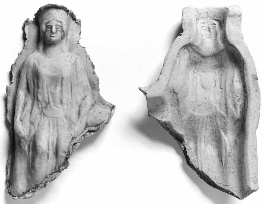 Unknown:Mold of a Seated Frontal Female Figure,16x12