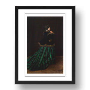 Claude Monet - Green Dress, Camille Doncieux [1866], A4 size (8.27 × 11.69 inches) Poster