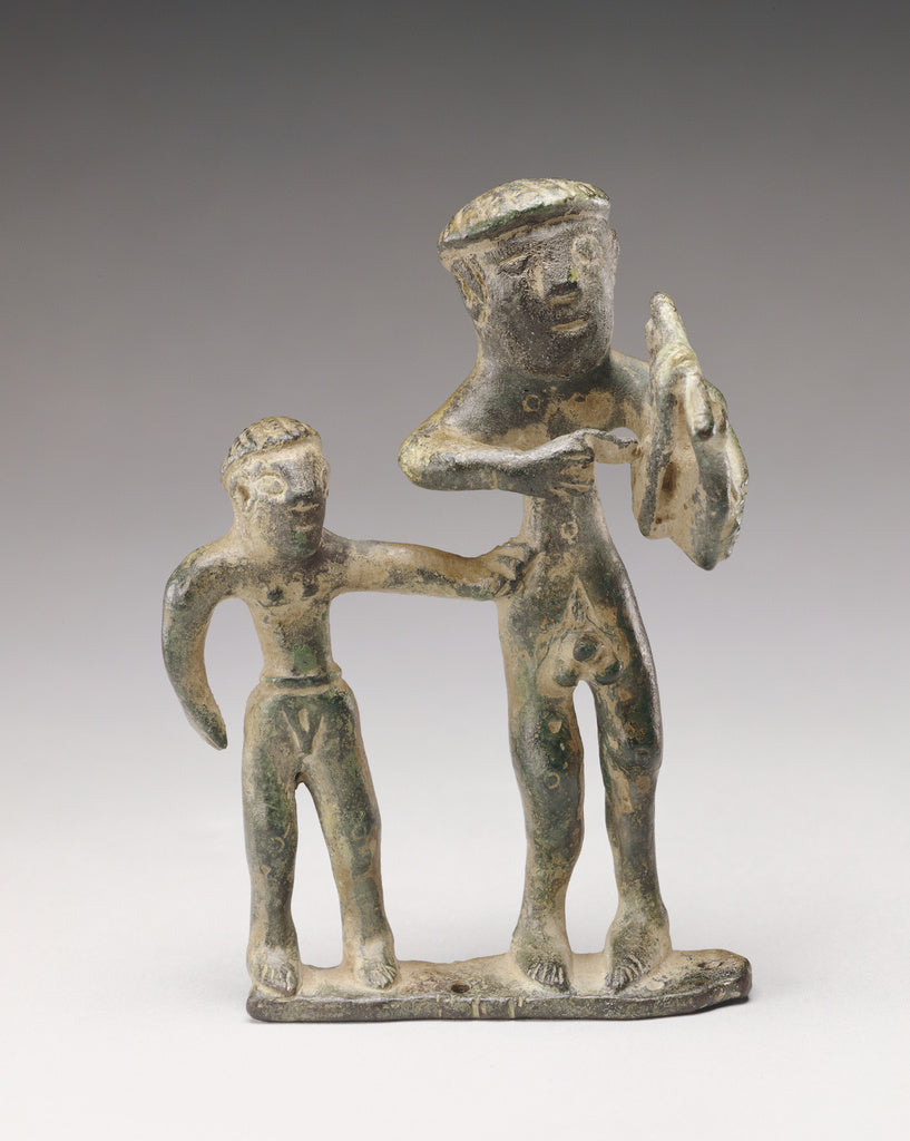 Unknown:Statuette of a Lyre Player with a Companion,16x12