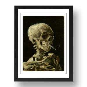 Vincent van Gogh - Skull Skeleton Burning Cigarette, A4 size (8.27 × 11.69 inches) Poster