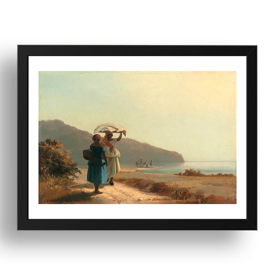 Camille Pissarro - Women Chatting, Sea [1856], A4 size (8.27 × 11.69 inches) Poster