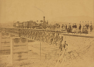 "Altobelli & Molins:[Group portrait with train on bridge],16x12""(A3)Poster"